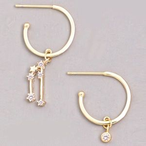 Jewelry - TAURUS Zodiac Star Gold Huggie Hoop Earrings